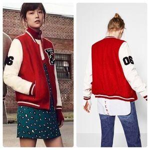 Zara Varsity Wool Bomber Jacket Sz M